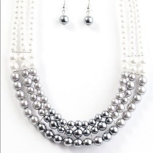 Paparazzi Lady in Waiting white and gray pearls